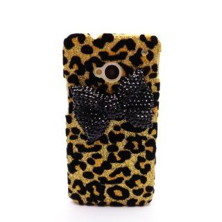 Deluxe Black 3D Diamante Bow Gold Leopard Shiny Case Cover for HTC ONE M7 NEW Cell Phones & Accessories