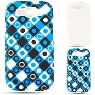 Cell Armor SAMI747 PC JELLY TE492 H Hybrid Fit On Jelly Case for Samsung Galaxy S3   Retail Packaging   Trans. Black/Blue/White Dots in Squares Cell Phones & Accessories