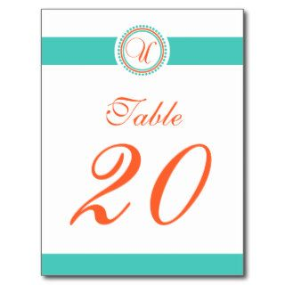 U Dot Circle Monogram Table Number (Orange / Teal) Post Card