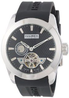Haurex Italy Men's CA501UNN Magister Auto Round Stainless Steel Black Silicone Automatic Watch Watches