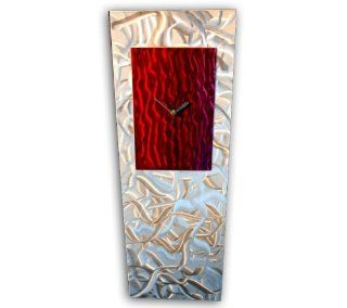 Contemporary Metal Wall Clock 'Red/Raspberry Reflections'   30x10 in.   Modern Artwork Color Painted Design   Silver Art D�cor