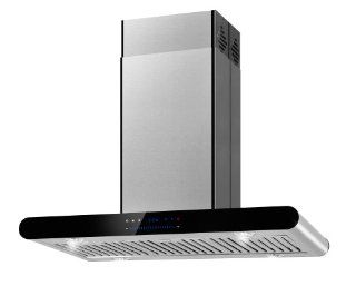 "FIREBIRD New 36"" European Style Island Mount Stainless Steel Range Hood Vent W/Both Side Accessible Swiping Sensor Control FBTK A506H 90 Appliances"