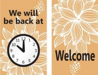 "Accuform Signs MPCM509 Dura Plastic Double Sided ""Be Back"" Clock Sign, Legend ""WE WILL BE BACK AT (PIC OF CLOCK)/WELCOME"", 5"" Width x 8"" Length, Black/White on Brown Industrial Warning Signs"