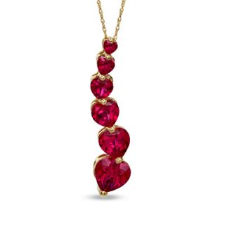 Heart Shaped Lab Created Ruby Pendant in 10K Gold   Zales