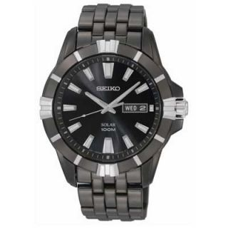 Mens Seiko Solar Black Ion Plated Stainless Steel Watch with Black