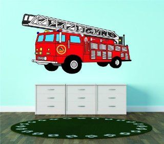 PRESCHOOL Red Firetruck Childrens Boys Bedroom Living Room Picture Art Graphic Design Image Vinyl Wall Decal Peel & Stick Sticker Mural Size  20 Inches X 40 Inches   22 Colors Available   Wall Decor Stickers