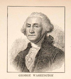1929 Printn Portrait George Washington First President United States America Wig   Relief Line block Print