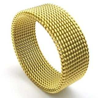 KONOV Jewelry 8mm Flexible Stainless Steel Screen Mens Womens Ring, Woven Mesh Band, Gold Metal Masters Jewelry Jewelry