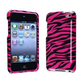 Importer520 Hot Pink + Black Zebra Snap on Hard Crystal Skin Case Cover Accessory for Ipod Touch 4th Generation 4g 4 8gb 32gb 64gb Cell Phones & Accessories