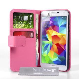 Yousave Accessories Samsung Galaxy S5 Case Hot Pink PU Leather Wallet Cover Cell Phones & Accessories