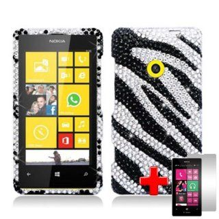 Nokia Lumia 521 (T Mobile) 2 Piece Snap On Rhinestone/Diamond/Bling Case Cover, Black/White Zebra Stripe Pattern + LCD Clear Screen Saver Protector Cell Phones & Accessories