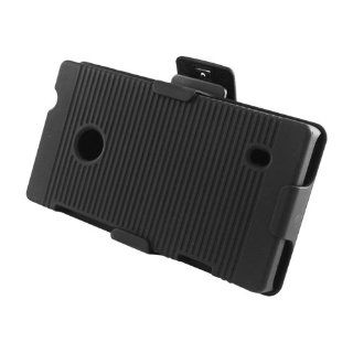 Rubberized Plastic Black Hard Cover Snap On Case W/ Belt Clip Holster Stand For Nokia Lumia 521 (StopAndAccessorize) Cell Phones & Accessories