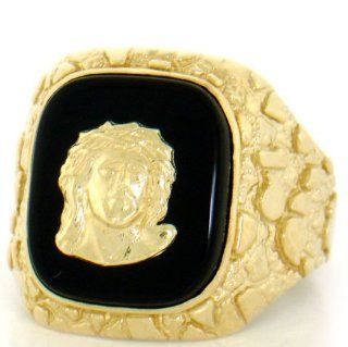 10K Solid Yellow Gold Nugget Onyx Jesus Mens Ring Jewelry