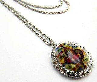 "Trendy Large Multi Colored Fleur De Lis Oval Locket Charm Necklace on LONG 30"" Rope Chain Silver Tone Comes Gift Boxed Jewelry"