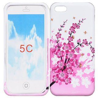 HELPYOU Iphone 5C New Fashion Colorful Flower Butterfly Style TPU Gel Cover Protective Case For Apple iphone 5C (Pattern D) Cell Phones & Accessories