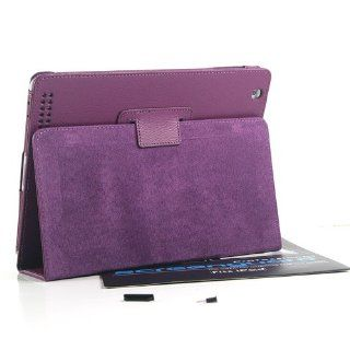 ZuGadgets Purple Leather Flip Stand Case Cover for iPad 3 / iPad 2 /The New iPad + Free Screen Protector and Ear Cap and Anti dust Dock (7345 4) Computers & Accessories