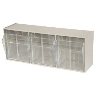 Akro Mils 06703 TiltView Horizontal Plastic Storage System with Three Tilt Out Bins  23 5/8 Inch Wide by 9 7/16 Inch High by 7 7/8 Inch Deep, Stone   Tool Cabinets