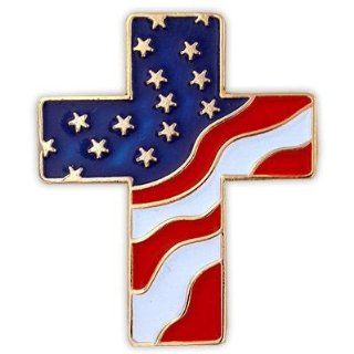 American Flag Patriotic Cross Religious Lapel Pin Brooches And Pins Jewelry