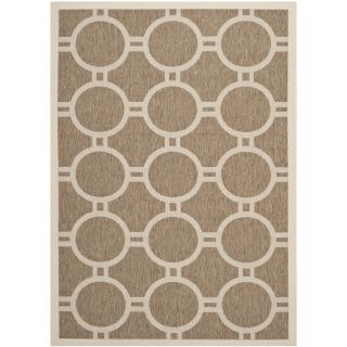 Safavieh Indoor/ Outdoor Courtyard Brown/ Bone Power loomed Rug (53 X 77)