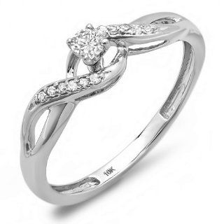 0.20 Carat (ctw) 10k White Gold Round Diamond Crossover Swirl Ladies Bridal Promise Engagement Ring Jewelry