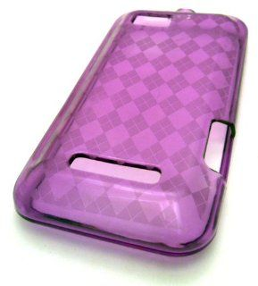 Motorola Defy XT555c Purple Diamond Design TPU Durable Soft Hybrid Silicone Case Skin Cover Mobile Phone Accessory Cell Phones & Accessories
