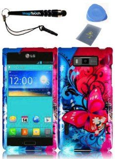 IMAGITOUCH(TM) 4 Item Combo LG Splendor Venice US730(Boost Mobile,U.S.Cellular) Hard Case Phone Cover Protector Faceplate with Graphics Design   Butterfly Bliss (Stylus pen, ESD Shield bag, Pry Tool, Phone Cover) Cell Phones & Accessories