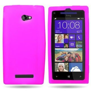 CoverON� Soft Silicone HOT PINK Skin Cover Case for HTC 6990 WINDOWS PHONE 8X ATT / TMOBILE [WCP553] Cell Phones & Accessories
