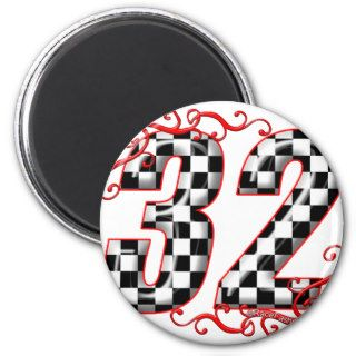 32 auto racing number fridge magnet