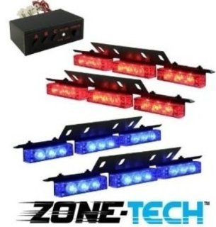 Zone Tech 36 X Ultra Bright Blue and Red LED Emergency Warning Use Flashing Strobe Lights Bar for Windshield Dash Grille Automotive