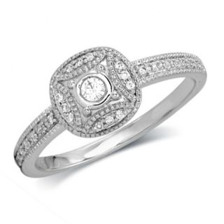 CT. T.W. Diamond Vintage Style Promise Ring in 10K White Gold