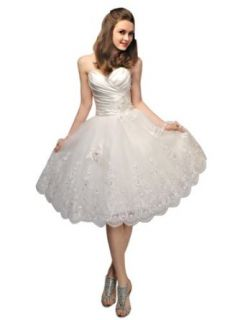 VILAVI Women's Princess Taffeta Sweetheart Strapless Lace up Short Wedding Dresses