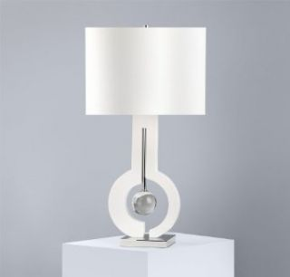 Nova Lighting Metronome Table Lamp  White Glossy Lampshade with White Linen Shade, White Wooden Accent and Silver Nickel Finish Stand
