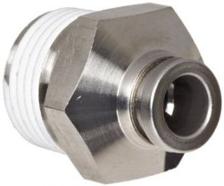 "SMC KQG2 Series Stainless Steel 316 Push to Connect Tube Fitting, Connector with Sealant, 1/4"" Tube OD x 3/8"" NPT Male"