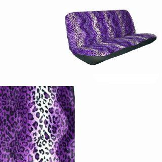 Basic Cloth Mesh Cheetah / Leopard Safari Animal Bench Seat Covers Universal Fit Purple for Car Truck SUV Van Automotive