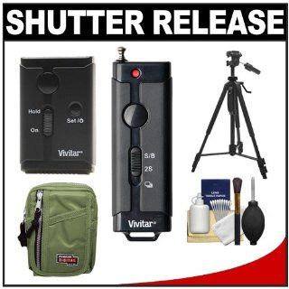 Vivitar Universal Wireless and Wired Shutter Release Remote Control with Travel Case + Tripod + Accessory Kit for Sony Alpha DSLR A560, A580, SLT A37, A57, A65, A77, A99 Digital SLR Cameras  Camera Shutter Release Cords  Camera & Photo