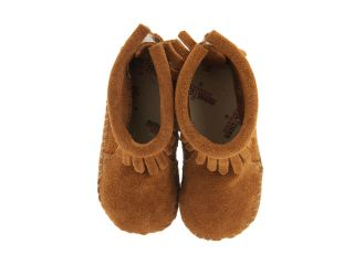 Minnetonka Kids Suede Back Flap Bootie (Infant/Toddler) Brown Suede