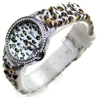 Geneva Women's Polyurethane Crystal Fashion Watch Leopard Print Strap Watches