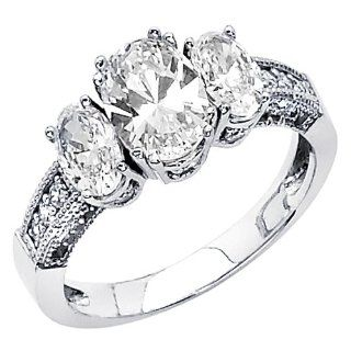 14K White Gold High Polish Finish Oval cut 2.60 CTW Equivalent Three Stone Top Quality Shines CZ Cubic Zirconia Ladies Wedding Engagement Ring Band The World Jewelry Center Jewelry