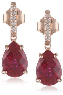 Sterling Silver Pink Gold Flash Plating Pear Shape Created Ruby with Created White Sapphire Earrings Jewelry
