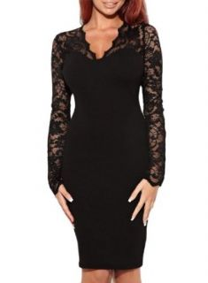 Miusol Women's Sexy Lace Dress V Neck Slim Cocktail Party Dresses, Ship From USA (Miusol Small/US Size 4, Long sleeve black)