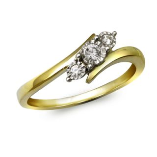 10 CT. T.W. Diamond Three Stone Slant Bypass Ring in 10K Gold