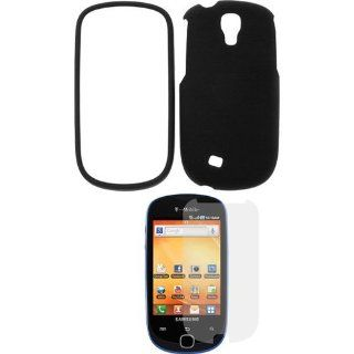 Black Snap on Rubberized Case + Clear LCD Screen Protector for T Mobile Samsung? Gravity Smart SGH T589 Cell Phones & Accessories