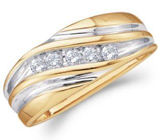 Mens Diamond Wedding Band 14k Yellow Gold Engagement Ring (1/4 Carat) Jewel Tie Jewelry