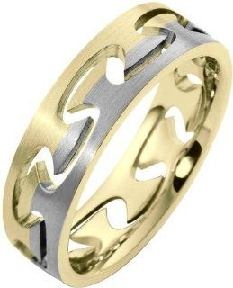 18 Karat Two Tone Gold Puzzle Style Unique Comfort Fit Wedding Band Ring Dora Rings Jewelry