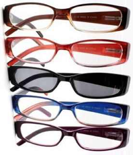Spring Hinge Plastic Reading Glasses (5 Pairs), Includes Sunglass Readers Clothing