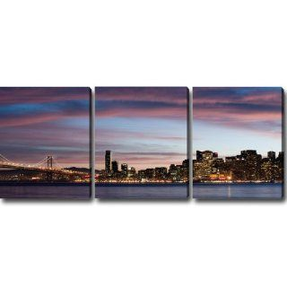 "Night of San Francisco' Canvas Art (Set of 3) 30"" x 72"" x 1.5""   Prints"