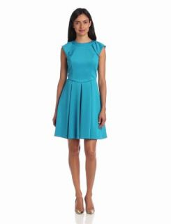 Hailey by Adrianna Papell Women's Dresses Scuba Cap Sleeve Flare Dress, Lake, 8