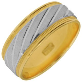 Mens 7.0mm Slanted Wedding Band in 10K Two Tone Gold   Zales
