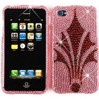 ACCESSORY BLING STONES COVER CASE FOR APPLE IPHONE 4 4S RHINESTONES RED CROWN ON PINK Cell Phones & Accessories