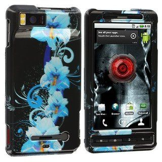 Blue Flower Design Crystal Hard Skin Case Cover for Motorola Droid X MB810 / Droid X2 MB870 Cell Phones & Accessories